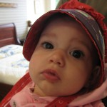 Evangeline in an Amish cap.